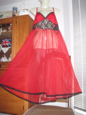 VINTAGE RED SHEER SEXY NYLON CHIFFON Sissy NIGHTGOWN L Lacy Sweep