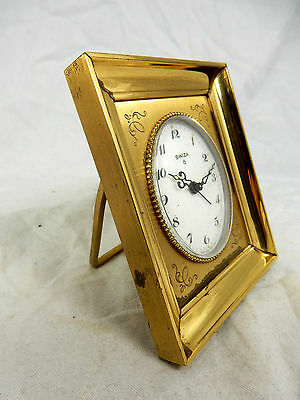 Schöne SWIZA  Bilderrahmen Weck Uhr alarm table clock Swiss Made 8 days working