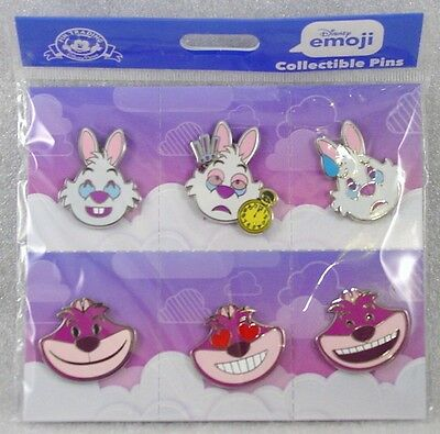 Disney Trading Pins EMOJI - WHITE RABBIT - CHESHIRE CAT Sealed Booster Set of 6