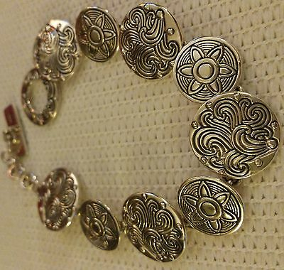 Sterling Coin Flower Design Bracelet 20.2 grams