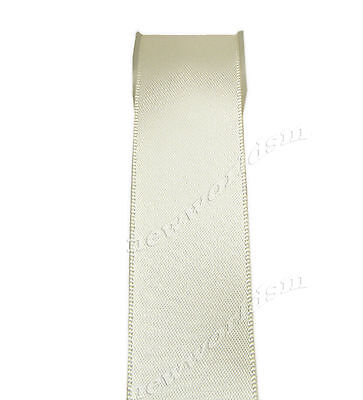 "4y 57mm 2 1/4"" Ivory Premium Single Faced Sided Wide Satin Ribbon Eco FREE PP"