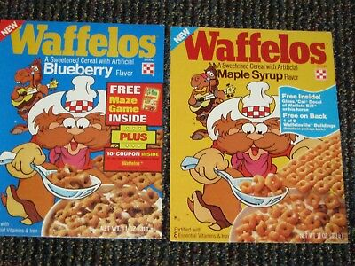2 qty of 1970 - Ralston Waffelo's cereal box fronts vintage old