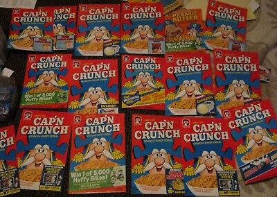 18 qty of 1980 - 82 Quaker Cap'n Crunch cereal box fronts vintage old