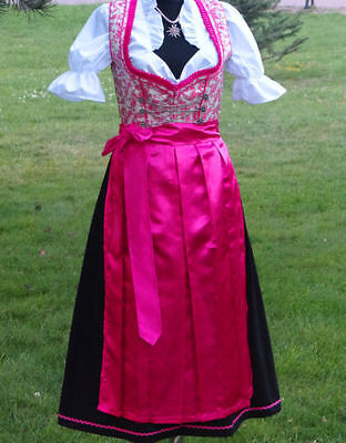 Elegant.Bavarian,German,Trachten,Oktoberfest,Dirndl Dress,3-pc.Sz.16,Fuchsia