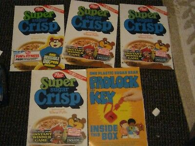 5 qty of 1980 - 82 Post Super Sugar Crisp cereal box fronts vintage old