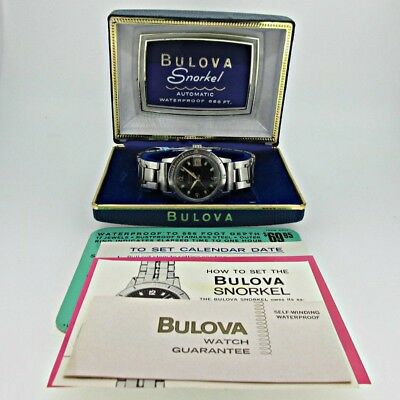 Vintage Bulova Selfwinding 11 ALACD M6 Divers Stainless Steel Watch with Box