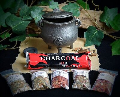 Cast Iron  Cauldron Grain Incense Kit Wicca Pagan Pentacle Charcoal Disc Gift
