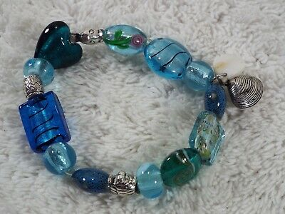 Blue Glass Bead Fish Turtle Shell Bracelet (C31)