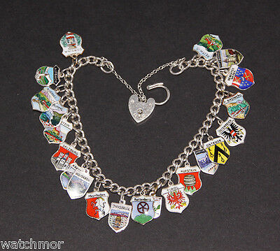 Silver Bracelet Fitted With 21 Enamelled Shield Charms, Padlock & Safety Chain