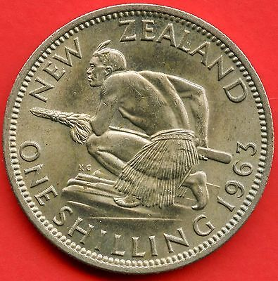 1963 New Zealand 1 Shilling Coin