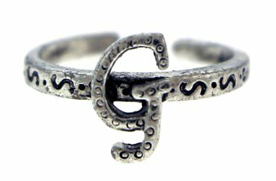 Antique Silver-Tone Toe Ring With The Letter 'G' Initial TR42A-G