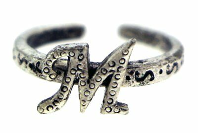 Antique Silver-Tone Toe Ring With The Letter 'M' Initial TR42A-M