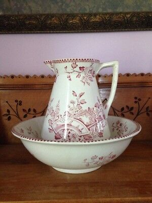 Antique English Ironstone Burgundy and White Transferware Pitcher And Bowl 1882