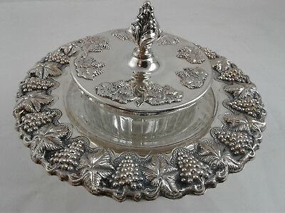 (Honey) Glass Dish on Base with Lid - Sterling Silver 925 - weight: 154 grams
