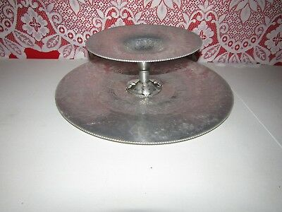 Vintage Continental Hand Wrought 2 Tier Large Serving Tray - Cakes - Cookies Etc