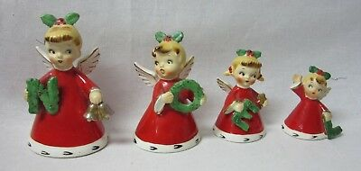 Vintage NAPCO 1956 NOEL 4 Angel Bells Bell w/ Wreath N O E L Ceramic Girl Figure