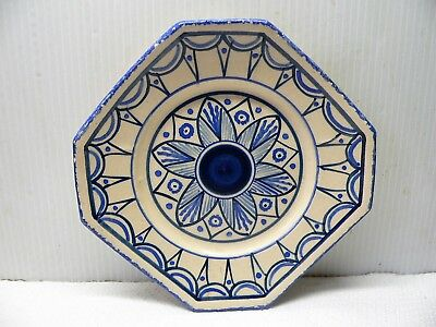 Blue, Cream Octagonal Pin Dish  Plate - Hb Quimper Cx 303 Faience Pottery France