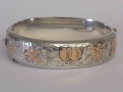 AN EXQUISITE VINTAGE HALLMARKED STERLING SILVER & 9CT 9K GOLD HINGED BANGLE 26g