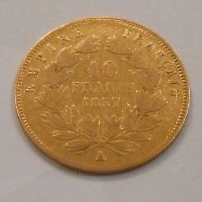 FRENCH GOLD COIN 10 FRANCS 1857 - NAPOLEON lll