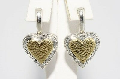$500 14K Yellow Gold & .925 Silver Heart Dangle Earrings