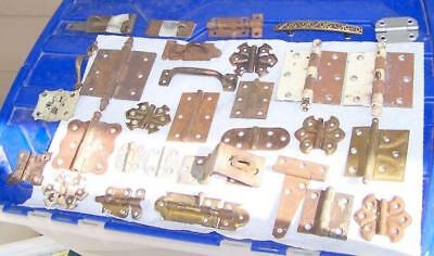 large lot vintage door cabinet cupboard hinges latches & other misc hardware