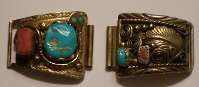 Vintage Sterling Silver with Turquoise & Coral Watch Band Tips EFFIE C ZUNI & BJ