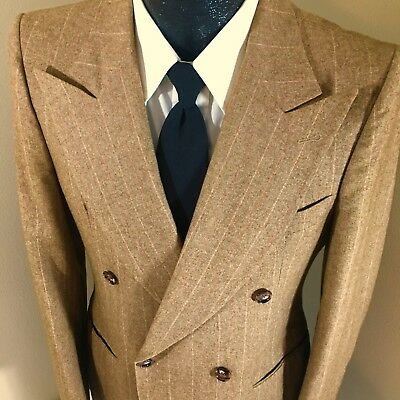 Vtg 40's Men Brown Red PIN STRIPE Sport Coat PEAK LAPEL Jacket DB Wool Blazer 38