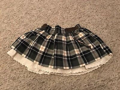 Next Baby Girls Green & Cream Layered Tartan Skirt Age 9-12 Months VGC