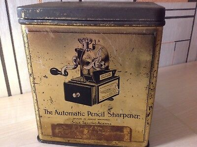 "Very Rare Tin Only For ""the Automatic Pencil Sharpener"" Antique Pencil Sharpener"