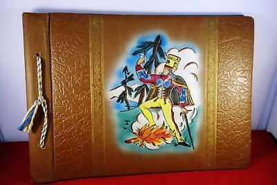 Polish Photograph Album vintage  1940s  leather ?? soldier on front 20 pages