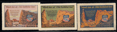 1915 PPIE Yellowstone National Park Poster Stamps Panama Pacific Expo Railroad