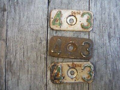 Lot Of 3 Vintage 1943 Michigan License Plate Tabs! Rare! Hard To Find Nr!