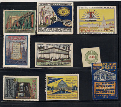 1915 PPIE Advertising Poster Stamps California Panama Pacific Expo San Francisco