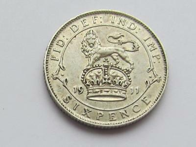 George V - 1911 Silver Sixpence - Very good collectable coin