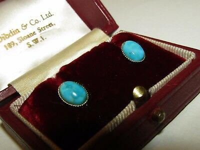 Large, Art Deco, 9 Ct Gold Turquoise Stud Earrings