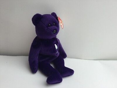Retired 1997 TY Beanie Baby Princess Diana Bear Indonisia PE Pellets No Space
