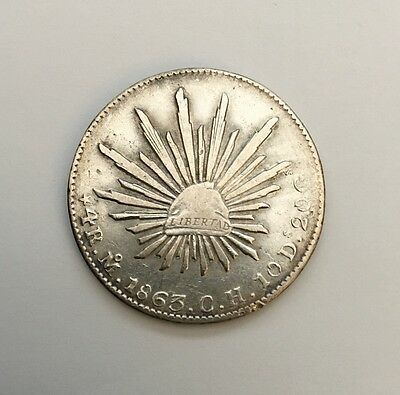 MEXICO  MEXICO CITY MINT  1863-MoCH  4 REALES SILVER COIN,  XF+