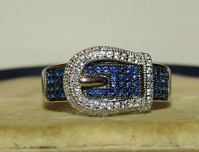 One Of A Kind, Art Deco Sterling Silver Buckle Ring / Old Vivid Blue/white Paste