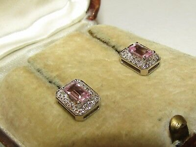 Elegant,art Deco,9Ct Gold Stud Princess Cut Earrings/pink Sapphire And Diamonds
