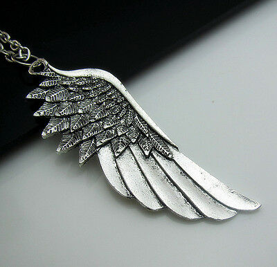 HOT Simple Tibetan Silver Angel Wings Feather Charm Lucky Pendant chain Necklace