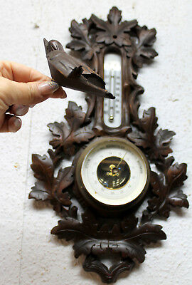Antique Wall Barometer & Thermometer Victorian handcarved with carved Bird