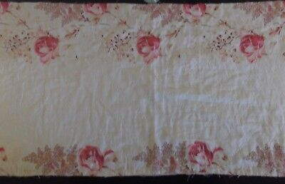 Antique Vintage Hand Stitched Victorian Quilt  Panel ~ Roses~Last One