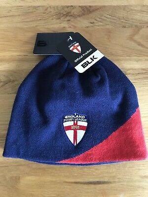 England Rfl Rugby League Blk Beanie / Woolly Hat One Size Fits All Bnwt