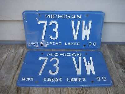 Vintage 1990 Michigan Personalized  License Plate 73 Vw  Nr! 1973 Volkswagen
