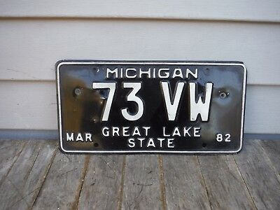 Vintage 1982 Michigan Personalized  License Plate 73 Vw  Nr! 1973 Volkswagen