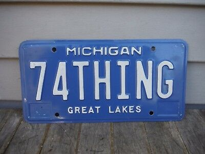 Vintage 1990's Michigan 74 Thing Personalized License Plate Neat! Volkswagen