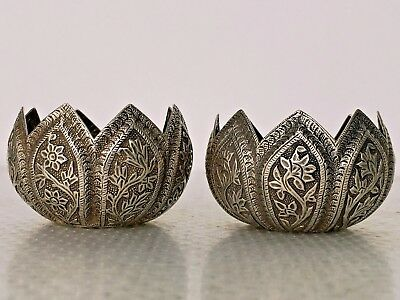 Pair Solid Silver Bowls Islamic Kashmir Persian Indian Kutch Kashmiri Mughal 92g