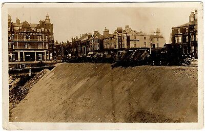 "Rare R.p. Postcard ""sand Express"" Train Tipping Sand-New Sea Wall-Blackpool 1911"