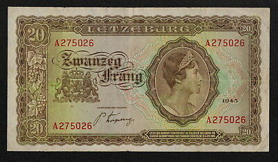 LUXEMBOURG (P42a) 20 Francs 1943 F+