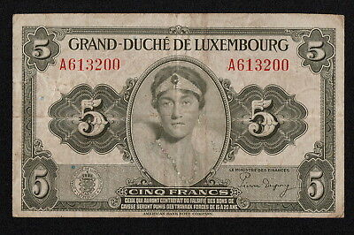 LUXEMBOURG (P43a) 5 Francs ND(1944) F+